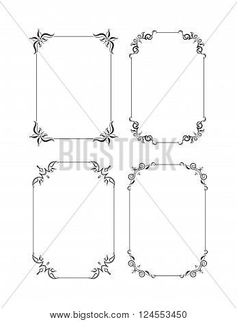 Set Of Four Decorative Vector Black Frames For Text Design, Invitation, Diploma