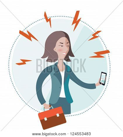 Vector illustration of angry businesswoman holding smart-phone in her hand on white isolated background