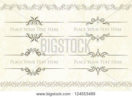 Set Of 4 Decorative Vector Text Dividers Frames With Pair Of Bonus Decorative Elements.