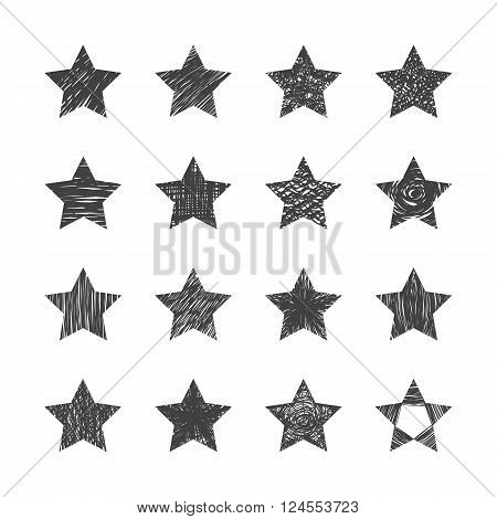 Set Of Hand Drawn Stars On White Background