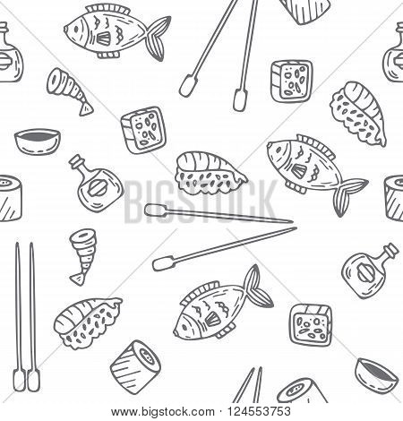 Sushi And Rolls Seamless Pattern. Hand Drawn Sketch Japanese Food Seamless Background