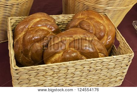 Loaves of fresh bread for sale at a Farmers Market in New BernNorth Carolina