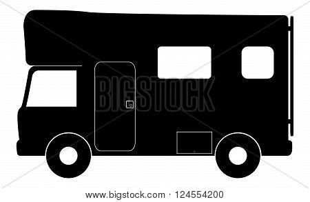 An RV camper van isolated on a white background