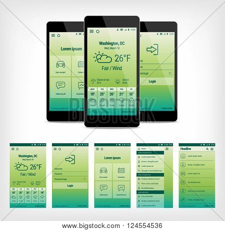 Vector set of modern mobile user interface design. Template illustration. Mobile app ui kit.