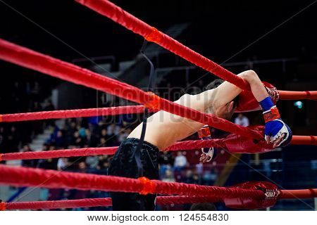 Chelyabinsk, Russia - April 2, 2016: defeat MMA fighter on ropes of ring after fight during Championship of mixed fighting single combats