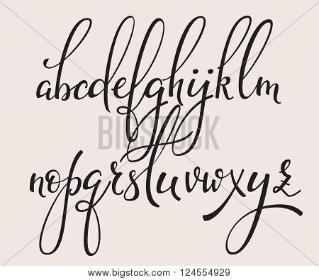 Handwritten brush style modern calligraphy cursive font with flourishes. Calligraphy alphabet. Cute calligraphy letters. For postcard or poster decorative graphic design. Isolated letter elements.