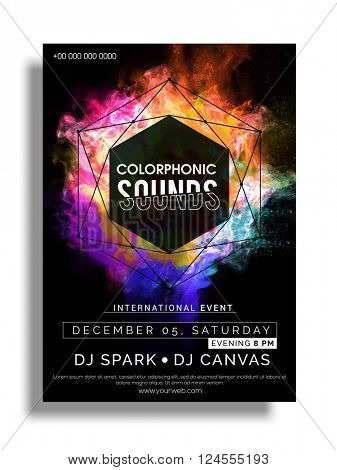 Colorful Party Flyer, Musical Party Template, Club Party Banner design with date and time details.