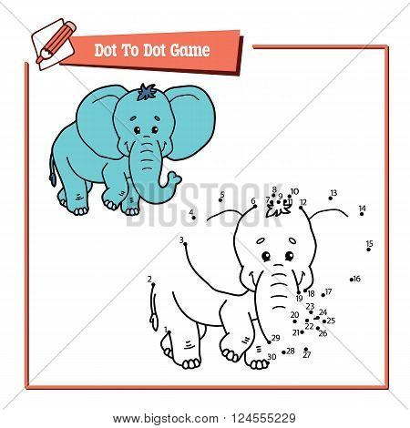 dot to dot elephant game. Vector illustration educational game of dot to dot puzzle with happy cartoon elephant for children