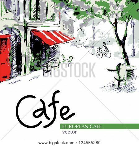European cafe graphic drawing in color. French outdoor European cafe painting.