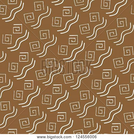 Seamless pattern white curlicues on brown background