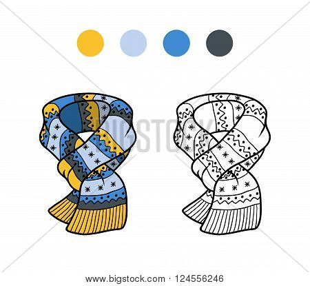 Coloring Book For Children, Knitted Winter Scarf With Winter Ornament