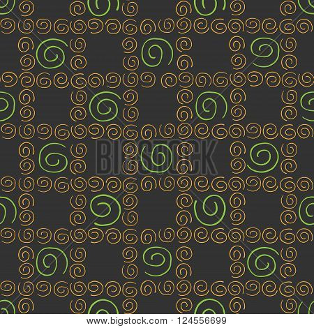 Seamless pattern colorful curlicues on broun background