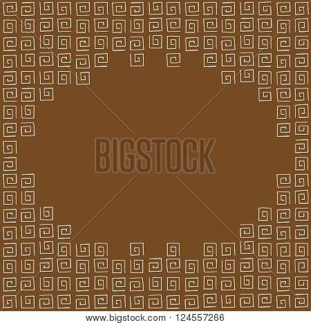 Frame made of brown curlicues on brown background