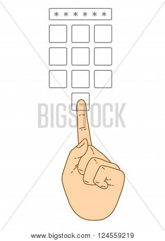 Vector flat style on background. Illustration of Enter secret pin code. Hand and finger pushing button on a keypad. Password and unlock access identification unlock symbol. Buttons