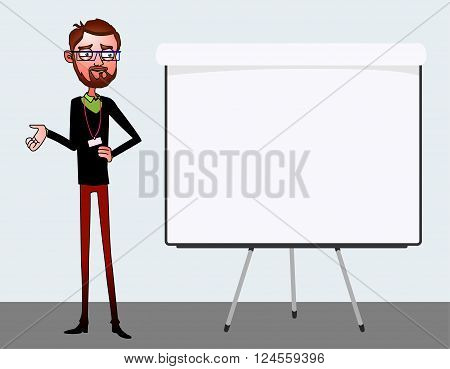 Speech presentation of business product project report at conference. Handsome man in shirt tells story of website. Leadership storytelling and set of characters. Vector isolated illustration