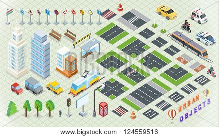 Isometric part of the city infrastructure. Isometric town, street modern, real structure, architecture exterior 3d for map, road and transport, house and auto, crossroad and tree. Vector illustration poster