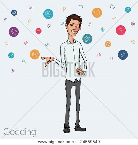 Speech presentation of business product project at conference. Handsome man Vector isolated illustration.