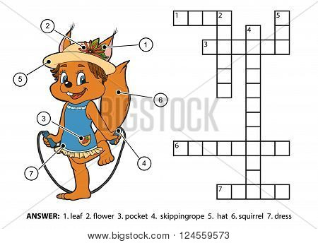 Vector Color Crossword. Squirrel Jumping Rope