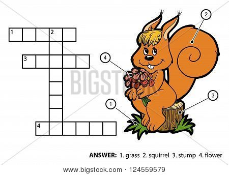 Vector Color Crossword. Squirrel Sitting On A Tree Stump