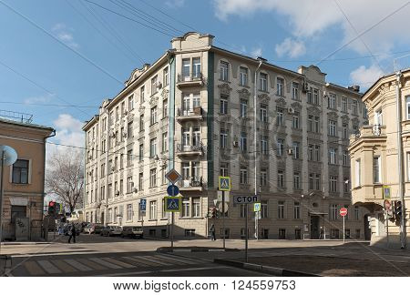 MOSCOW, RUSSIA - MARCH 21, 2016: Apartment house family von Stein built in 1911 in the style of rational modernity Lyalin Pereulok 8 Building 1 landmark