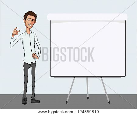 Speech presentation of business product project at conference. Handsome man with blank whiteboard Vector isolated illustration.