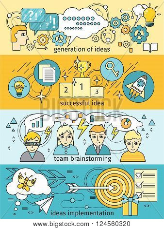 Generation of ideas banners set. Brainstorming team implementation idea banner, teamwork get successful achievement of startup, business inspiration with creativity innovation. Vector illustration