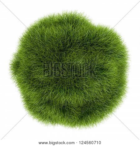 Eco Green Grass Sphere on White Background. Ecology Concept. 3D illustration