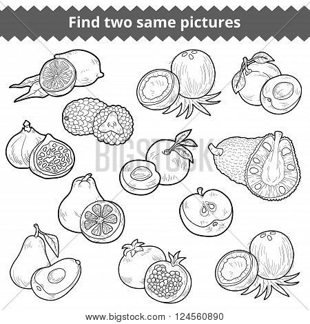 Find Two Same Pictures. Vector Set Of Fruits