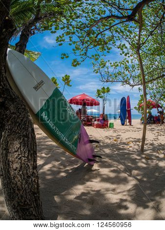 KUTA BALI - INDONESIA, JULY 20 : Surfboards on the famous beach on Kuta in Bali Indonesia July 20th, 2015