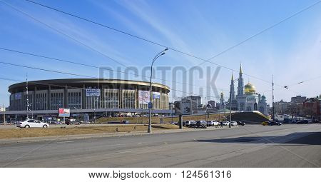 MOSCOW, RUSSIA - MARCH 28, 2016: City panoramic view of the sports complex