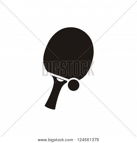 Ping pong tennis and ball monochrome icon. Tennis racket, ball and ping pong ball and icon sport, equipment for competition, tournament game and emblem ping pong. Vector illustration