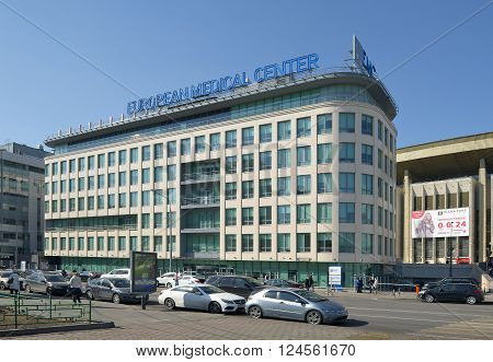 MOSCOW, RUSSIA - MARCH 28, 2016: A view of the building of the European Medical Center on the street Shchepkina Building 35 near the sports complex