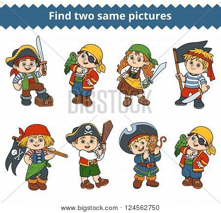 Find Two Same Pictures. Vector Characters Of Pirates