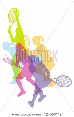 Illistration of women tennis silhouettes background colorful concept