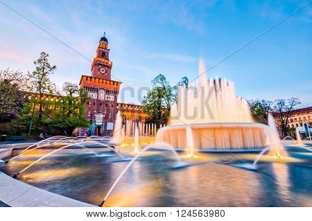 Sforza Castle and foutain in Milan Italy.
