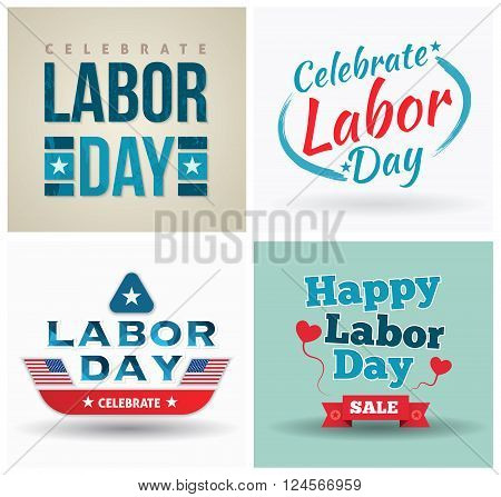 Labor day poster set for promotion celebrate Labor day. Vector illustration. Can use for printing and web.