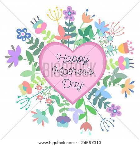 Happy Mother's Day vector illustration. Greeting card