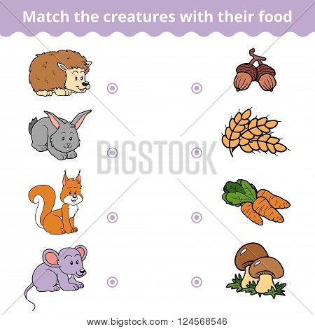 Matching game for children vector education game (animals and favorite food) poster