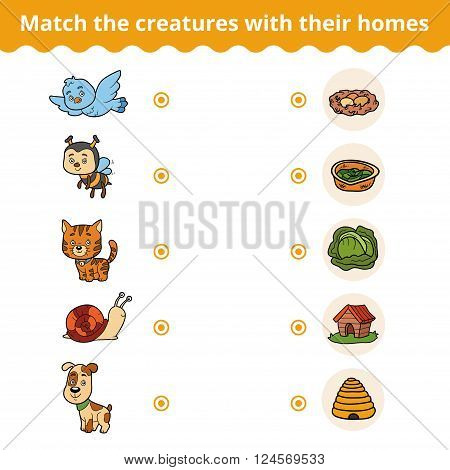 Matching Game For Children, Animals And Their Homes