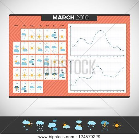 Wall Calendar March 2016 with weather observation. Weather journal vector Template. Weather diary with illustrations and temperature schedule meteorological calendar poster