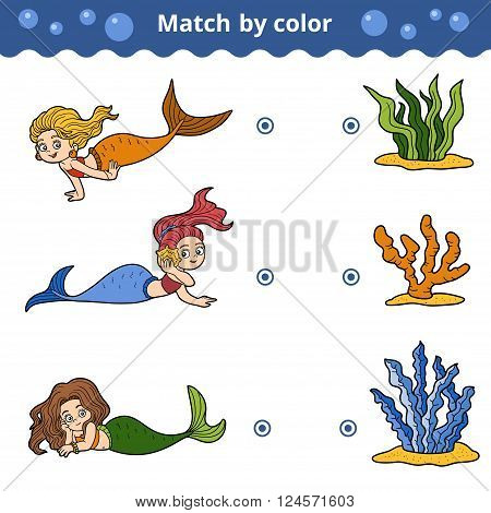 Matching Game For Children. Match By Color, Mermaids
