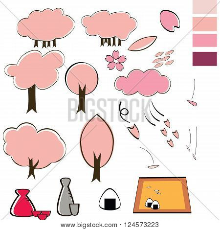 Japanese style set include Cherry blossom tree sake (Japanese alcohol) bottle and cup rice bun effect of the leaves and lobe drop with Japanese painting style include the pallette color for use