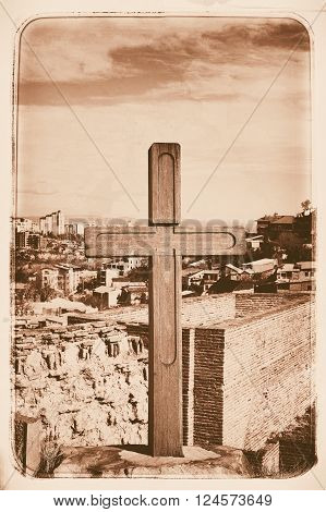 Cross In Narikala Fortress - Ancient Place In Tbilisi, Capital Of Georgia