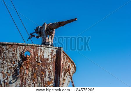Close-up of harpoon gun on whaler bows