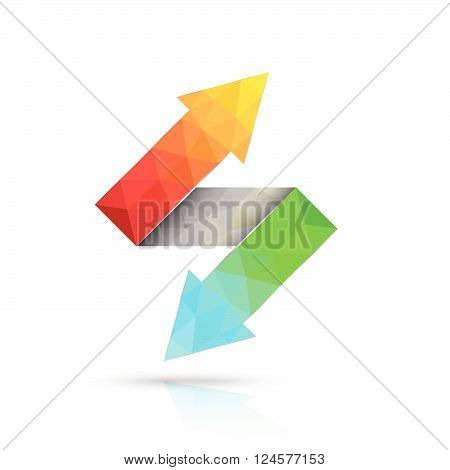 Two way arrows up and down directions consisting of triangles. Vector illustration...