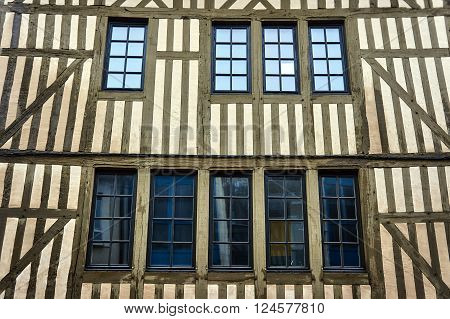 timber-framed building windows in Troyes in France