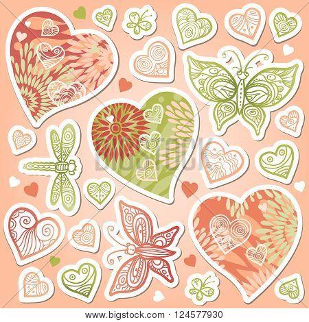 Vector Set Of Pastel Hearts, Butterflies.