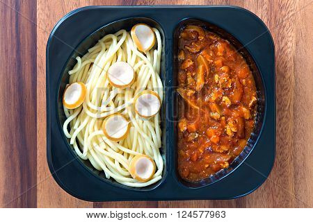 Spaghetti With Red Tomato Sauce In A Plastic Box