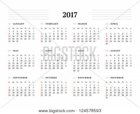 Simple Calendar Template For 2017 Year. Stationery Design. Week Starts Sunday. Vector Illustration