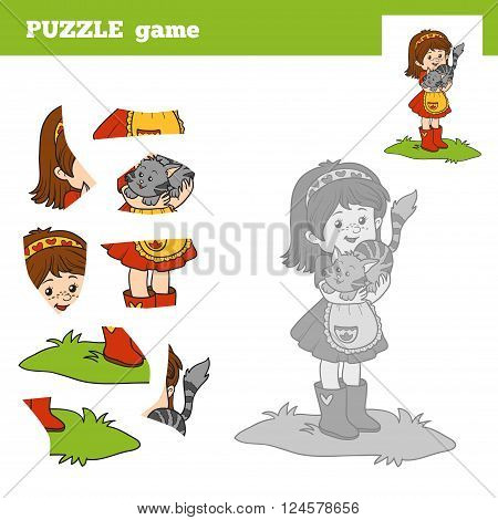 Puzzle Game For Children, Little Girl And Small Cat